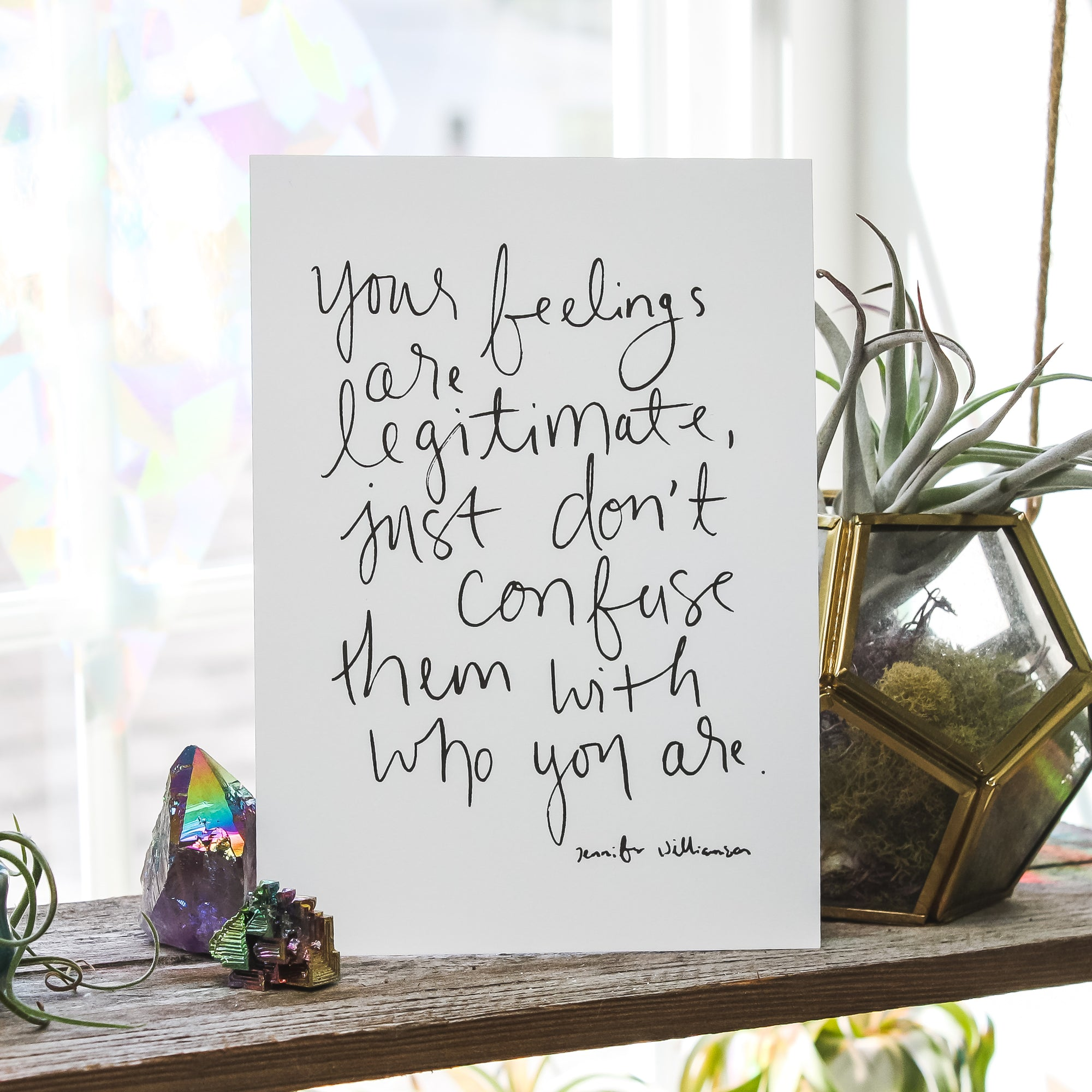 Your Feelings Are Not You Handwritten Word Art Print by Jennifer Williamson