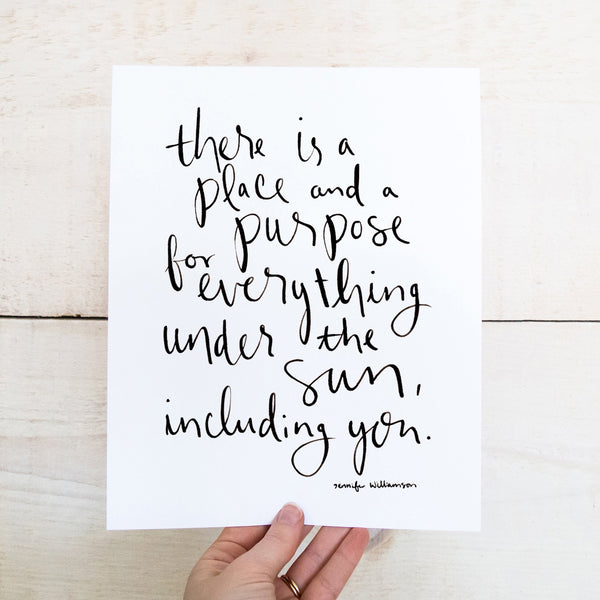 A Place And A Purpose For Everything Hand Lettered Poetry Art Print