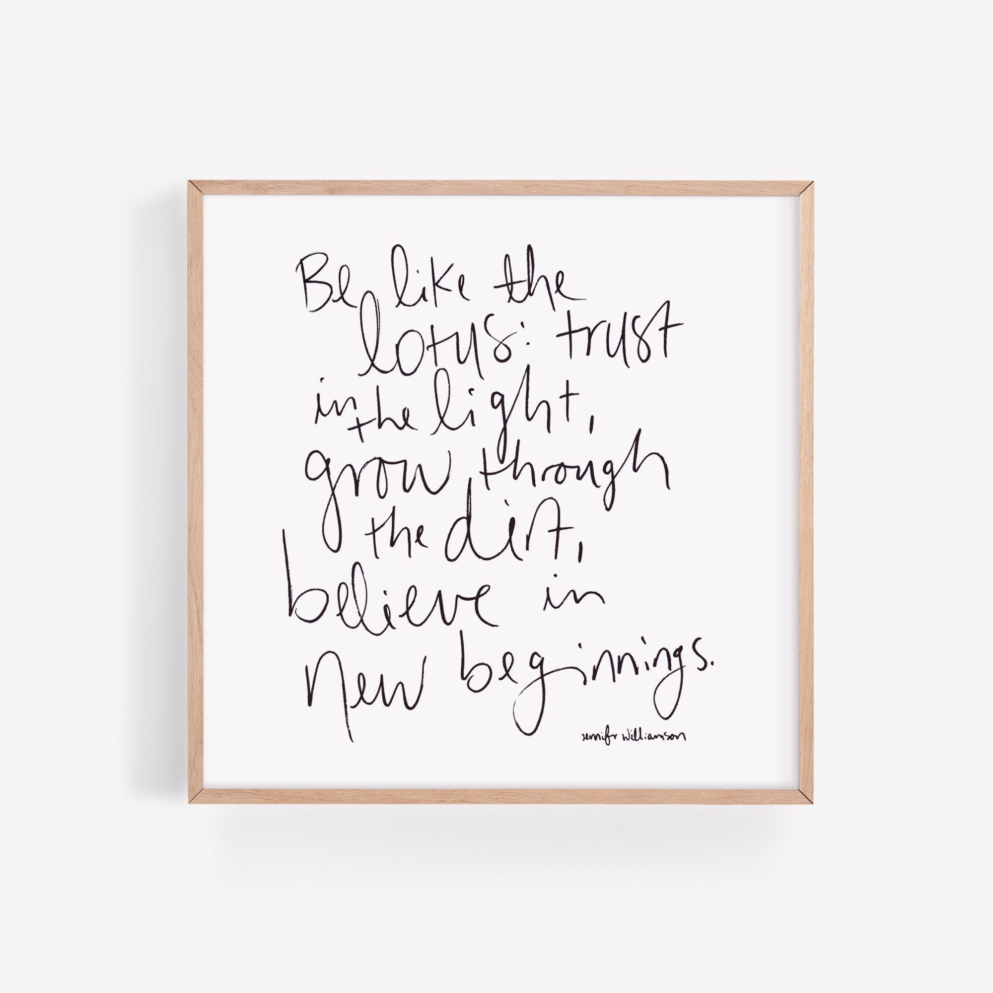 Be Like The Lotus Hand Lettered Poetry Art Print