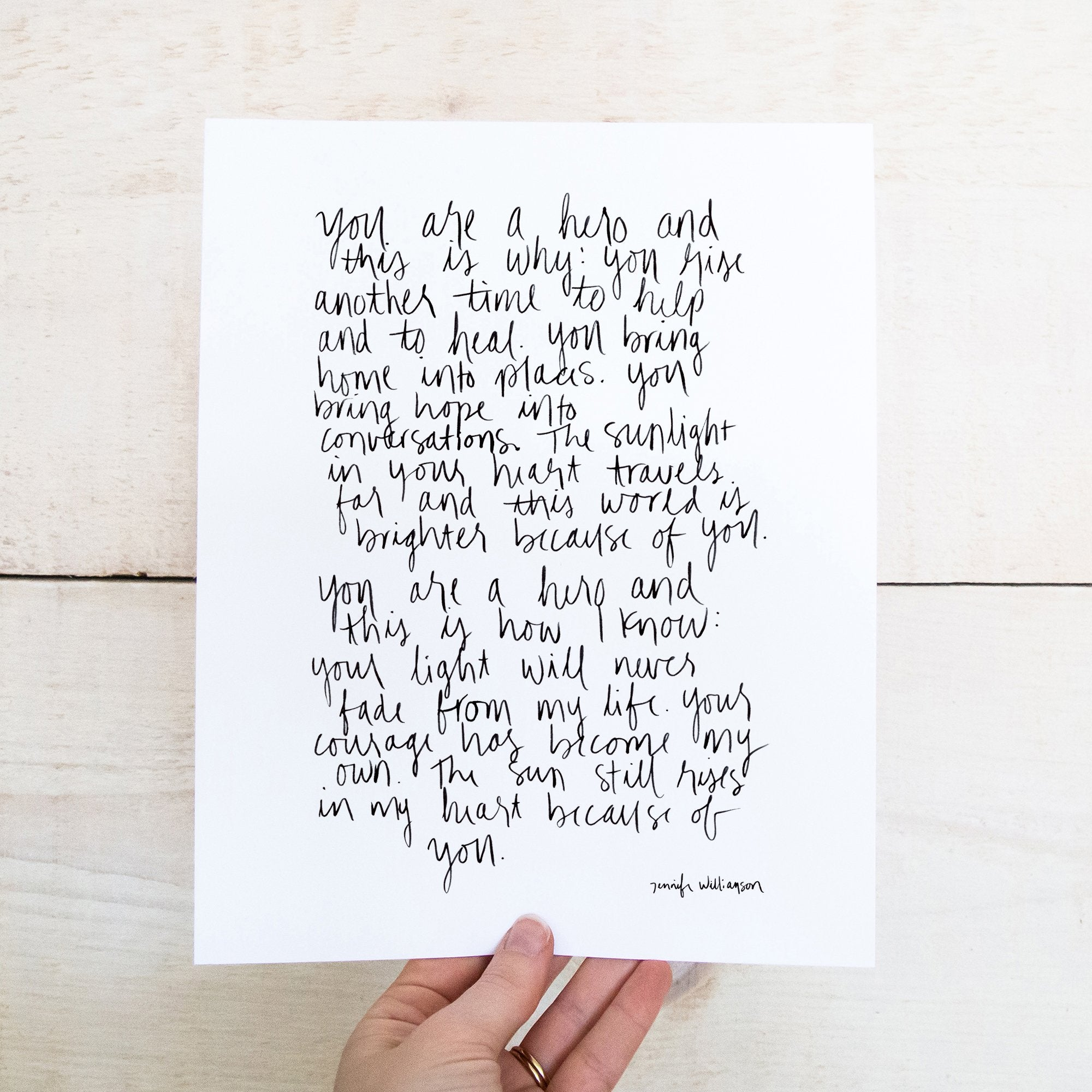 Because of You (Hero) Hand Lettered Poetry Art Print