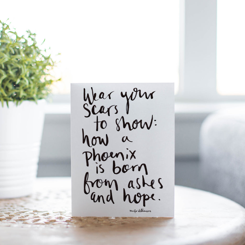 How A Phoenix Is Born Hand Lettered Poetry Encouragement Card