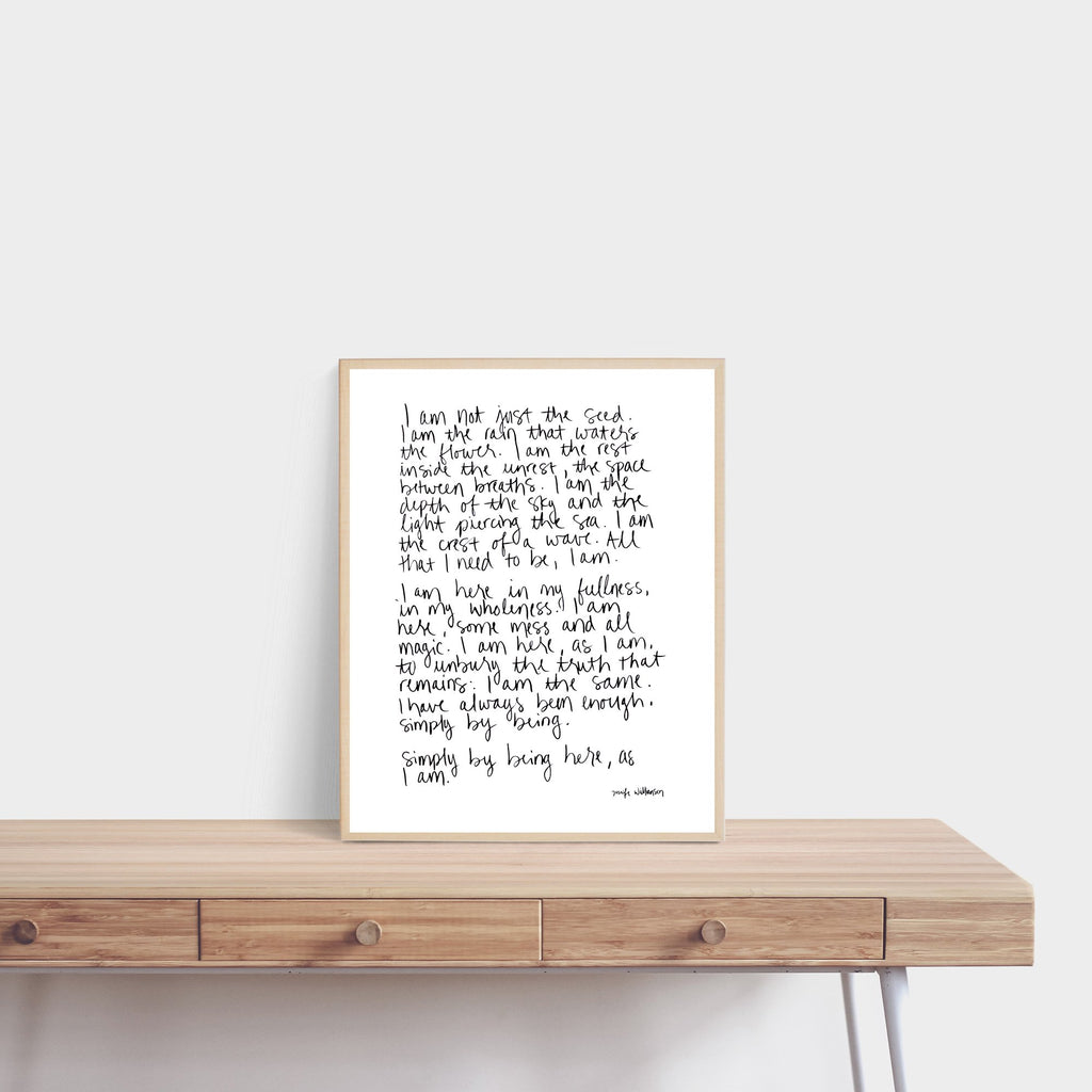 I Am Enough Hand Lettered Affirmation Poetry Art Print
