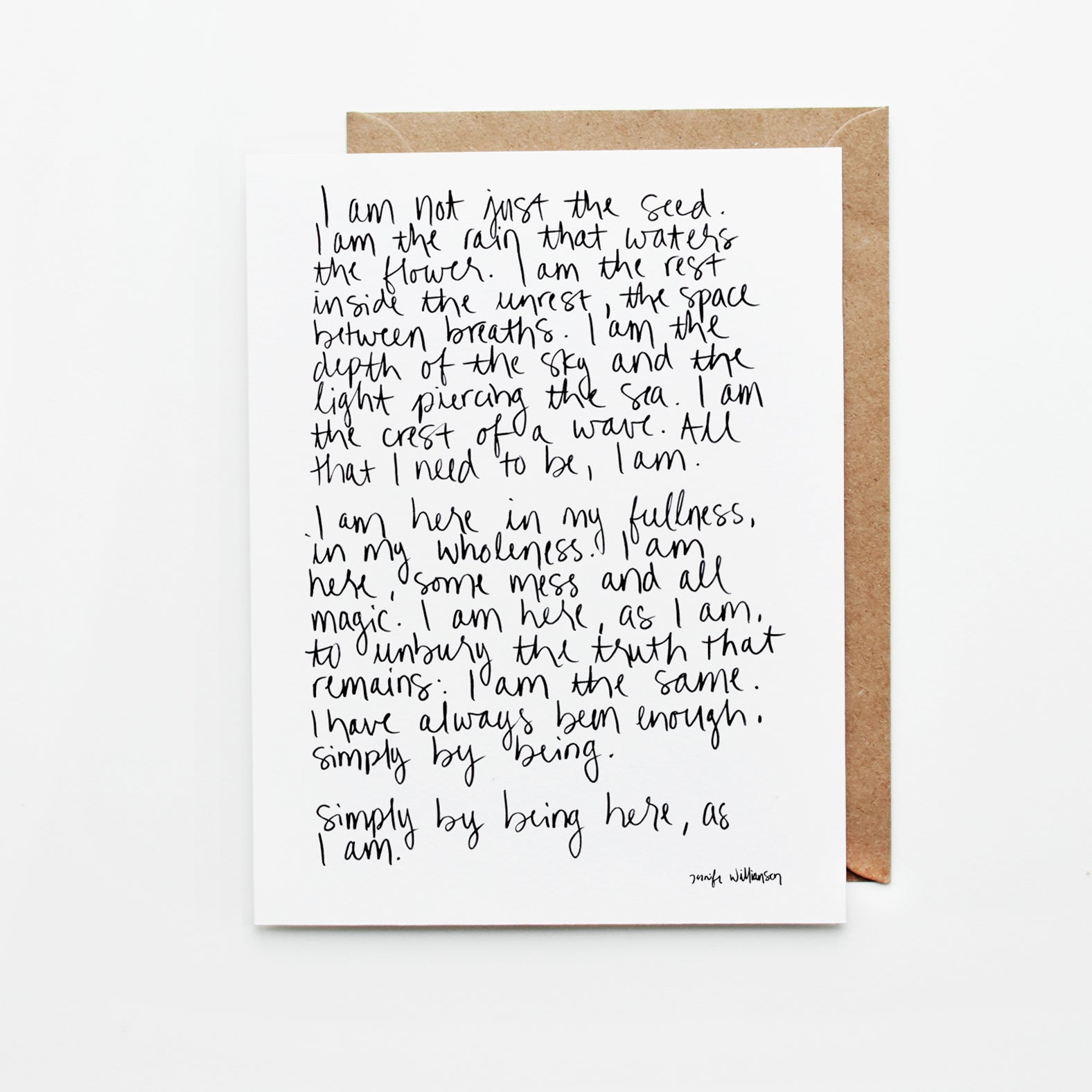 I Am Enough Hand Lettered Affirmation / Poetry Encouragement Card