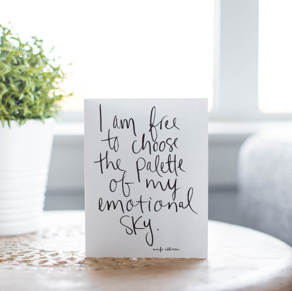 I Am Free To Choose Hand Lettered Affirmation Encouragement Card