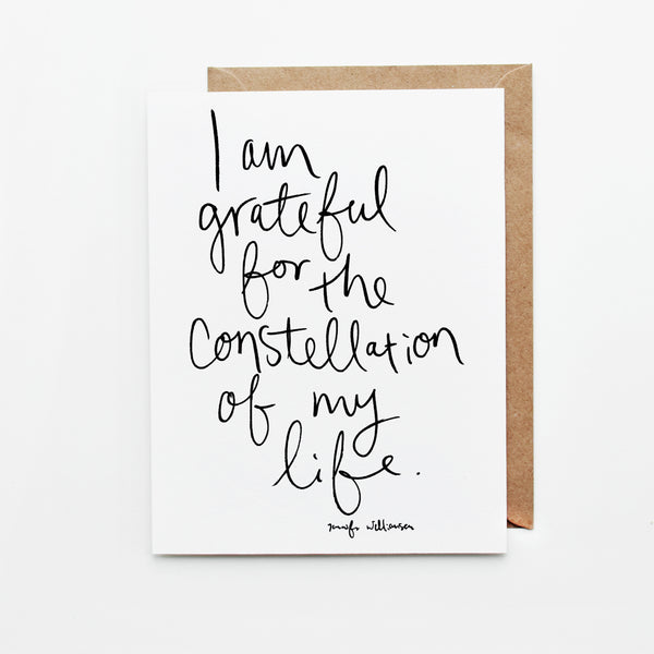 I Am Grateful For The Constellation Of My Life Hand Lettered Affirmation Card
