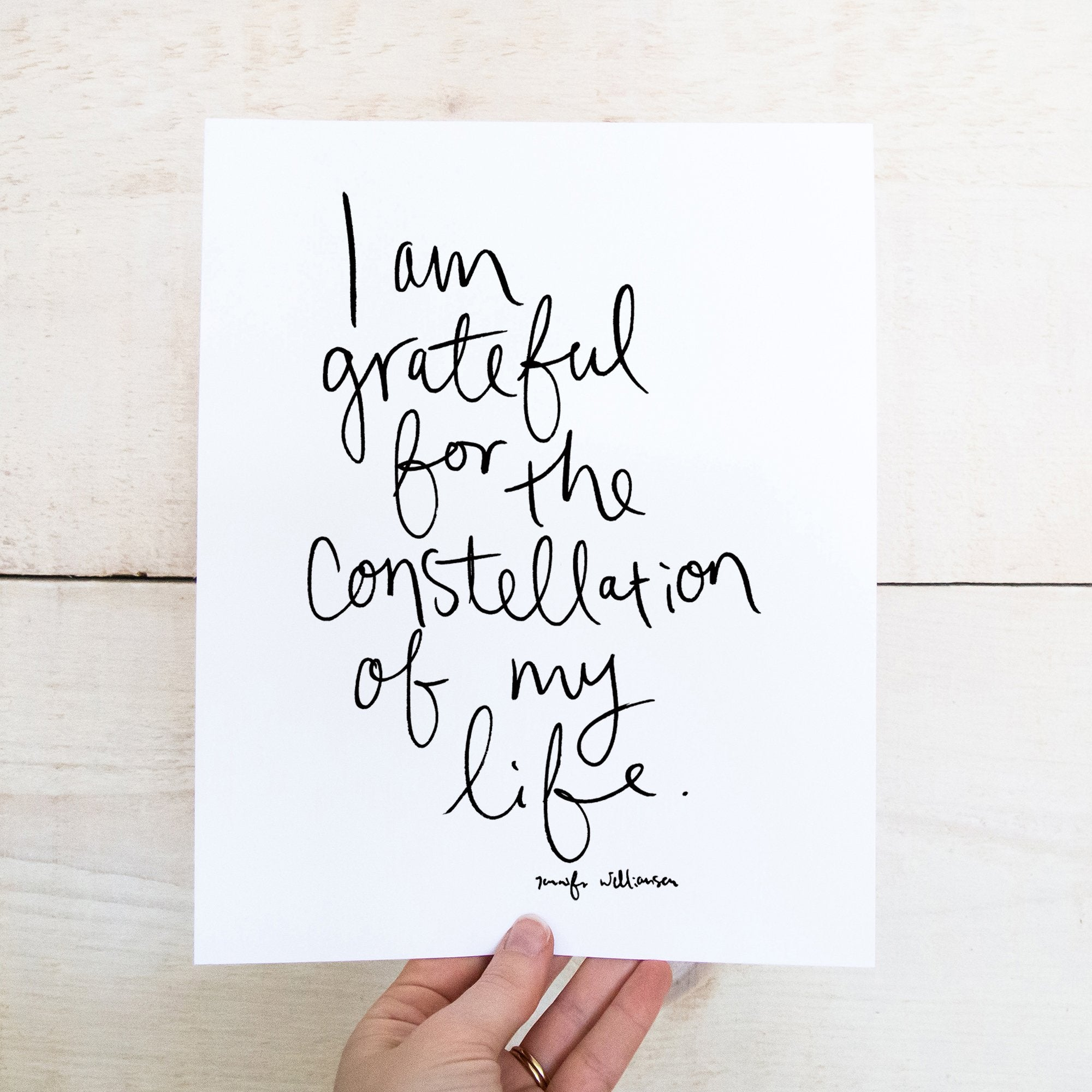 I Am Grateful For The Constellation Of My Life Hand Lettered Affirmation Art Print