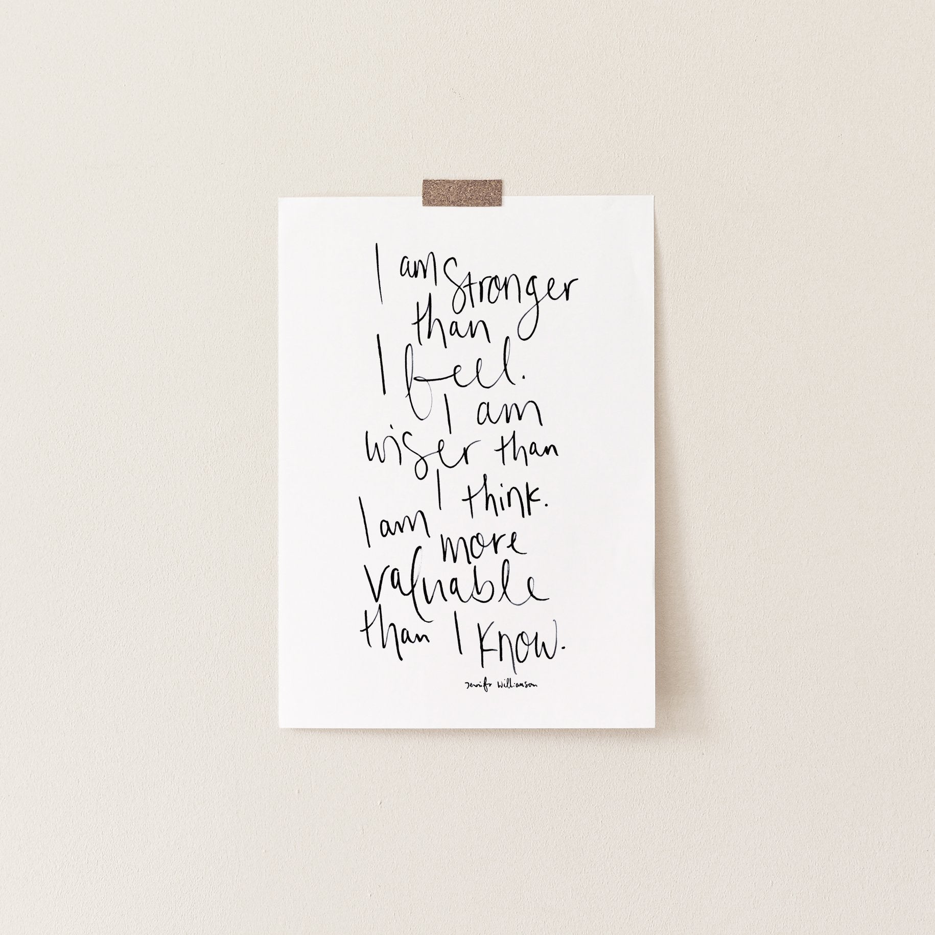 I Am Stronger Than I Feel Hand Lettered Affirmation Art Print