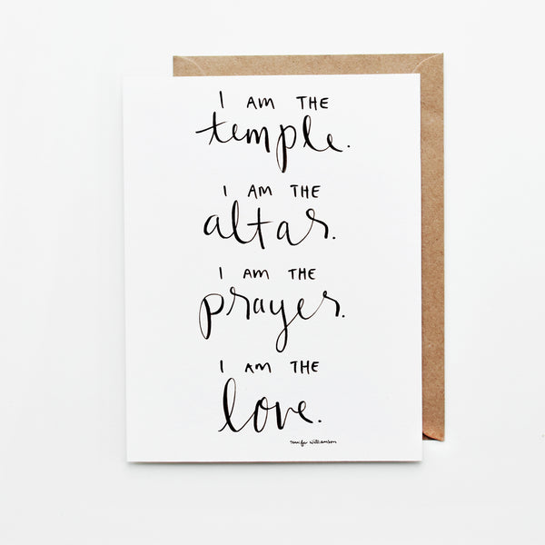 I Am The Temple Hand Lettered Affirmation Encouragement Card