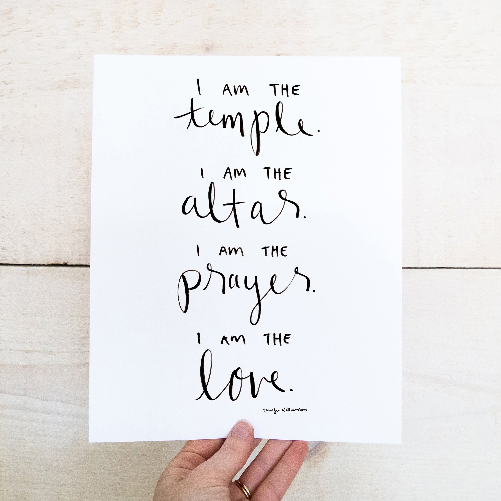I Am The Temple Hand Lettered Affirmation Art Print
