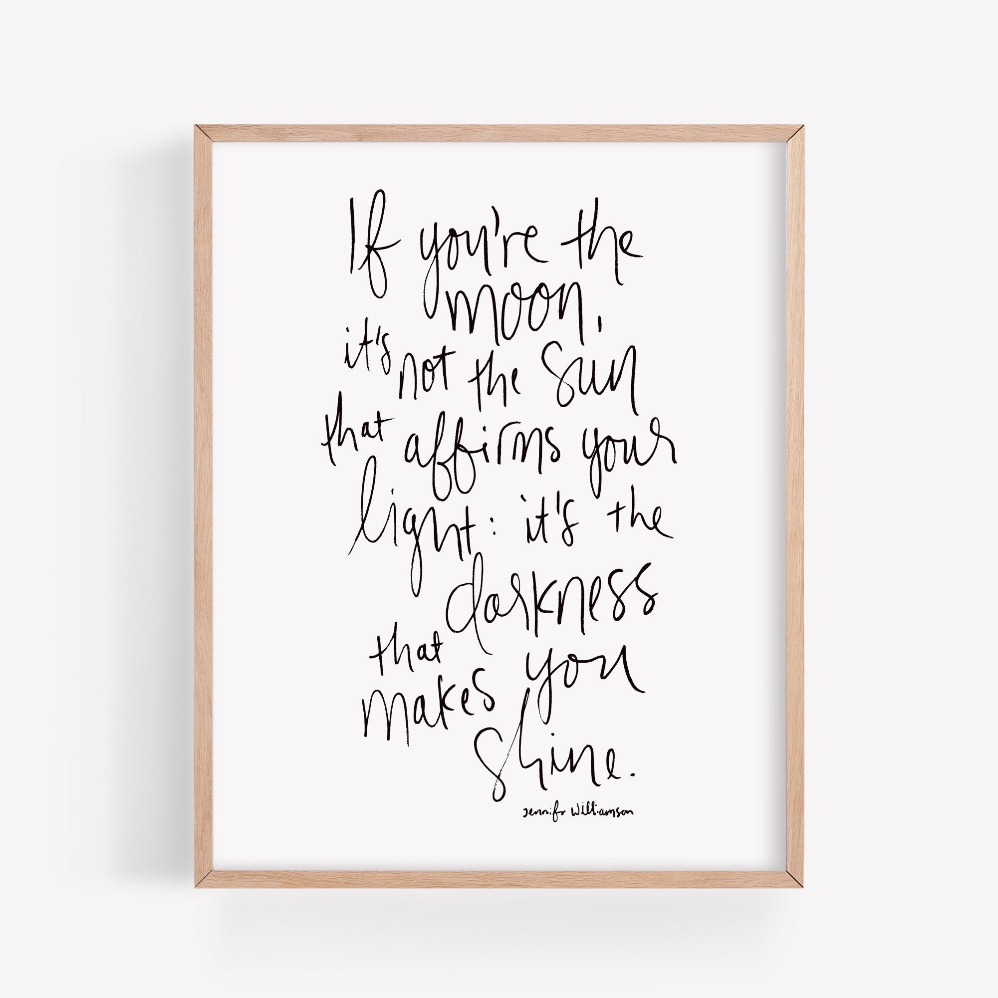 If You're The Moon Hand Lettered Poetry Art Print