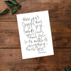 In The Middle Of Everything, There's Love Hand Lettered Poetry Art Print