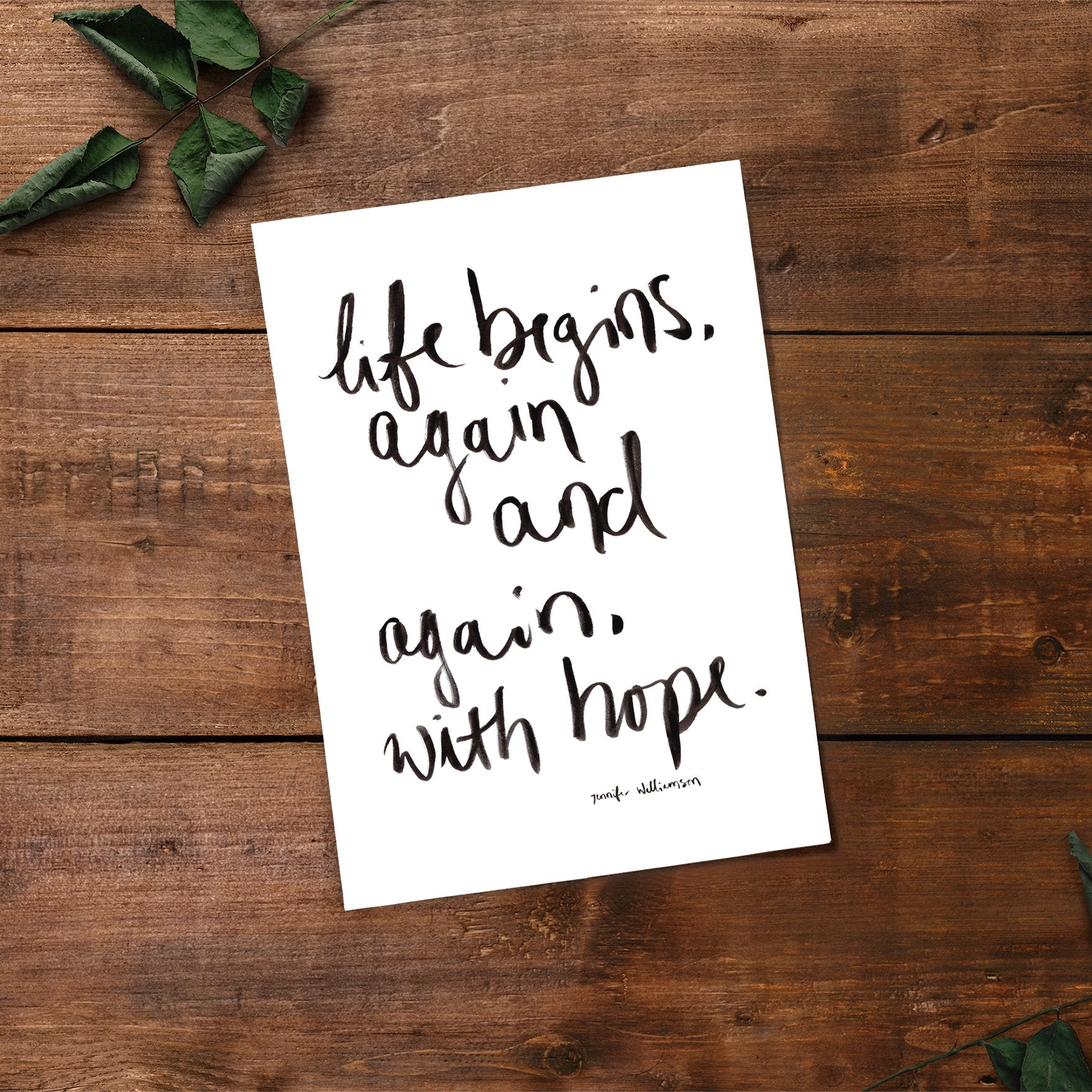 Life Begins With Hope Hand Lettered Word Art Print