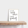 Love Each Other. Love Yourself. Hand Lettered Word Art Print