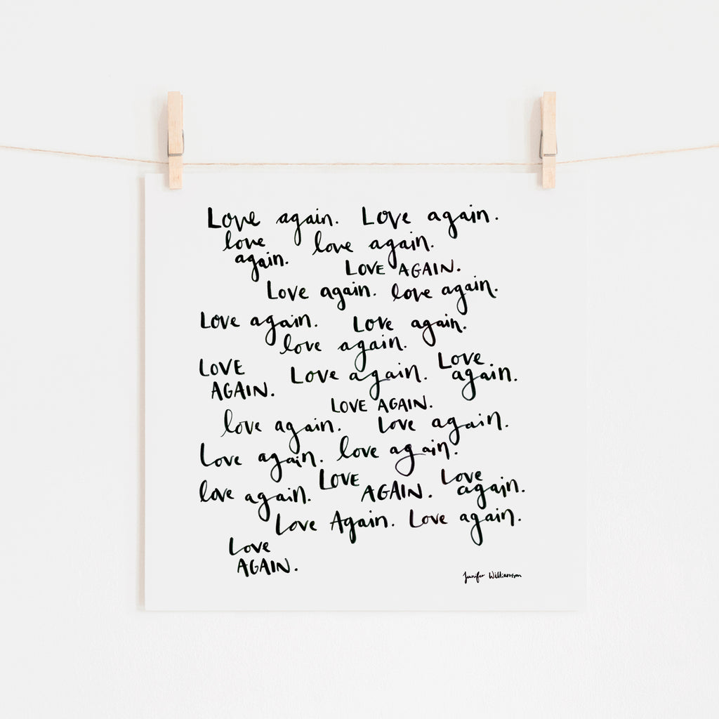 Love Again Hand Lettered Word Art Print