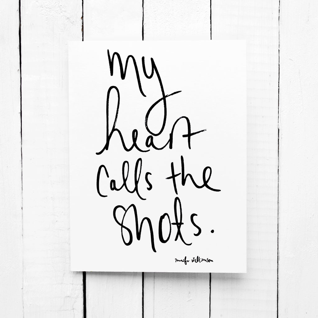 My Heart Calls The Shots Hand Lettered Affirmation Encouragement Card