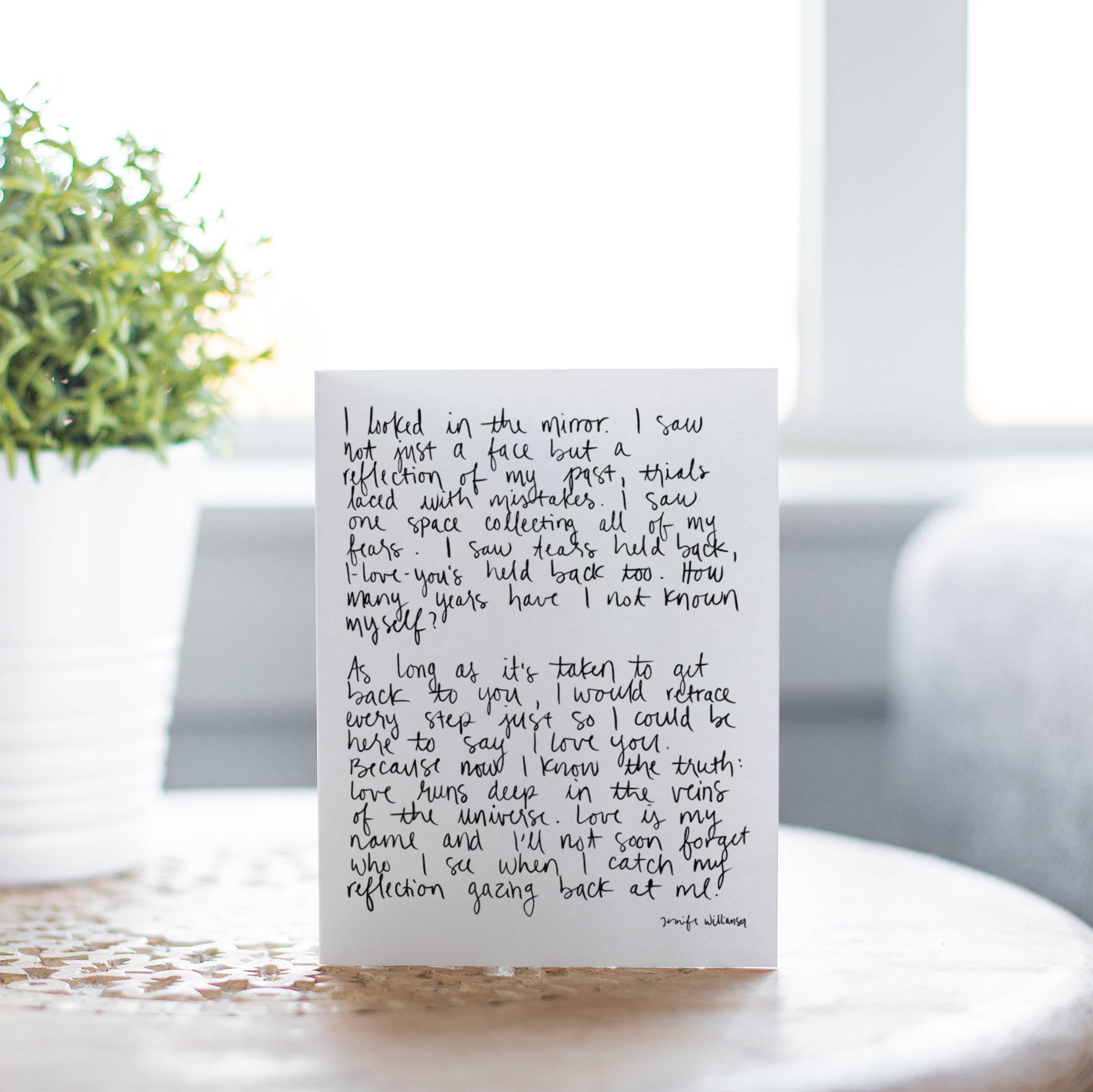Self Love Hand Lettered Poetry Encouragement Card