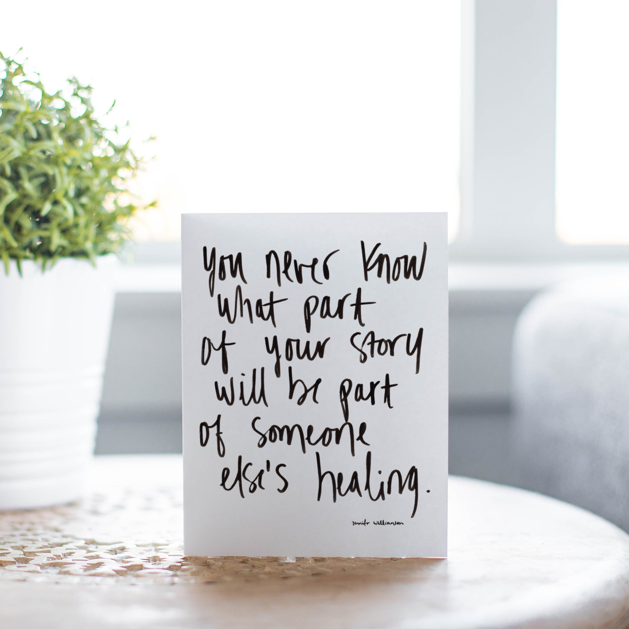 Sharing Is Healing Hand Lettered Poetry Encouragement Card
