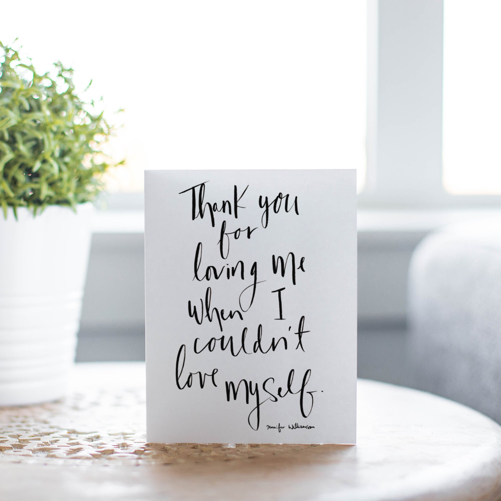 Thank You For Loving Me Hand Lettered Prayer Encouragement Card
