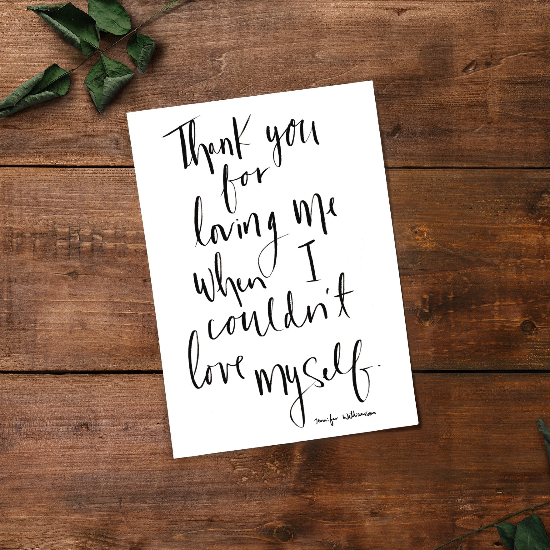 Thank You For Loving Me When I Couldn't Love Myself Hand Lettered Prayer Art Print