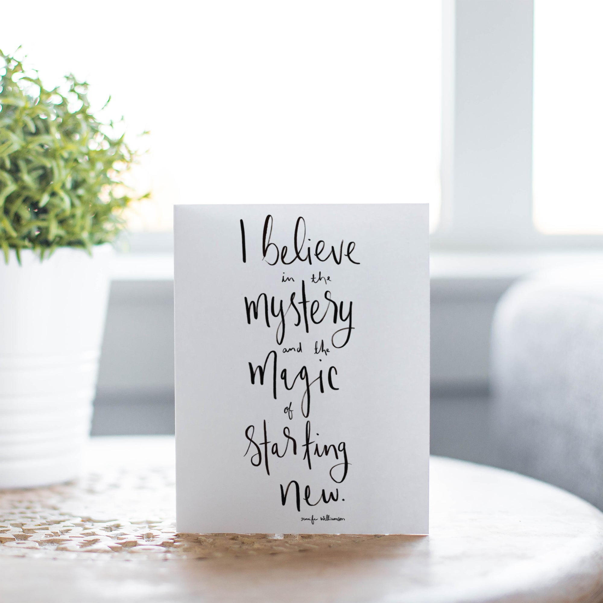 The Magic Of Starting New Hand Lettered Affirmation Encouragement Card