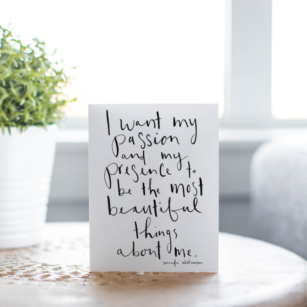 The Most Beautiful Things About Me Hand Lettered Affirmation Encouragement Card