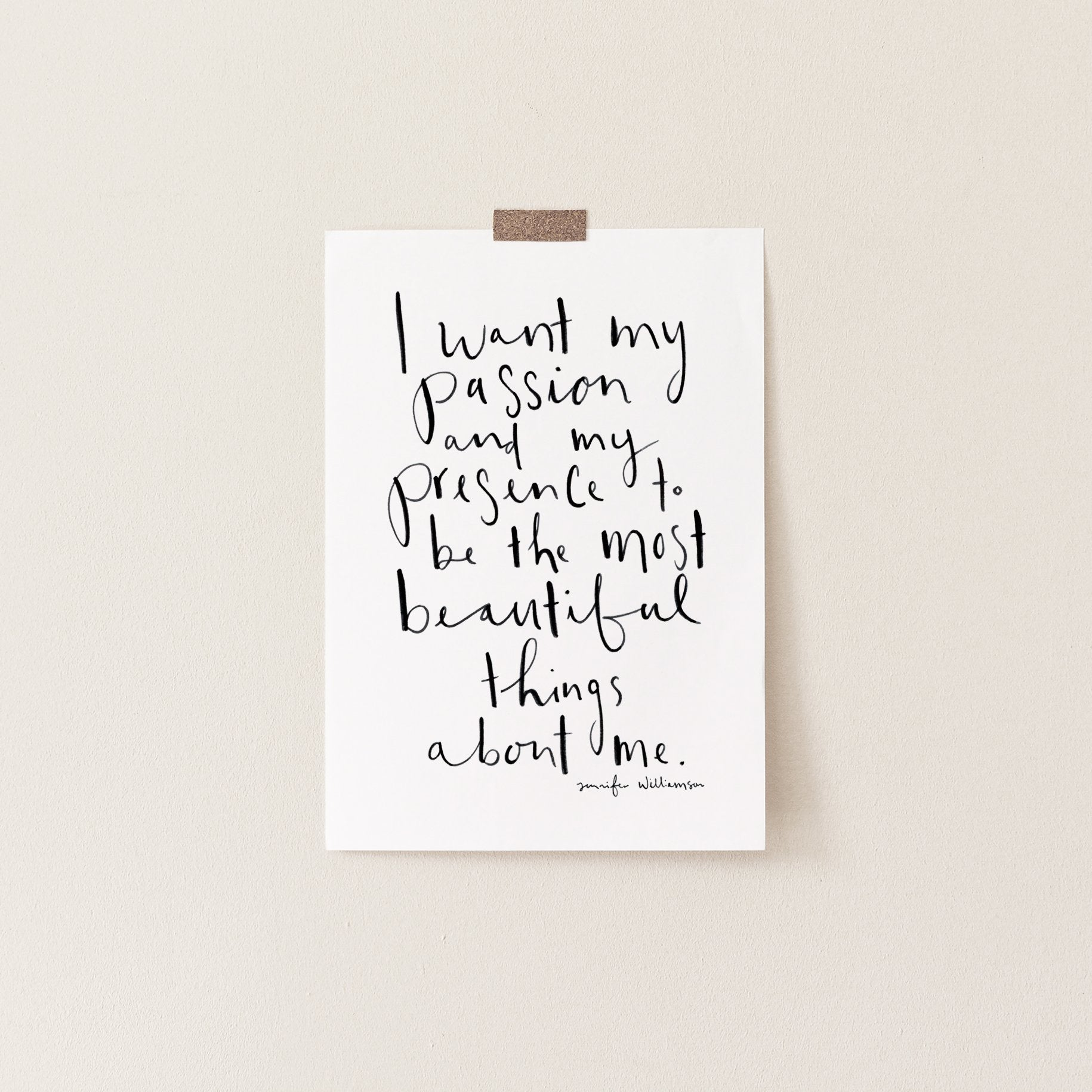 The Most Beautiful Things About Me Hand Lettered Affirmation Art Print