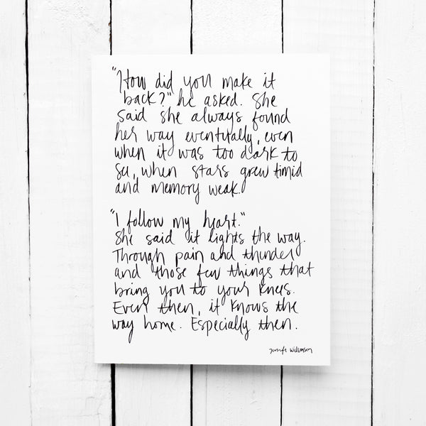 The Way Home Hand Lettered Poetry Encouragement Card