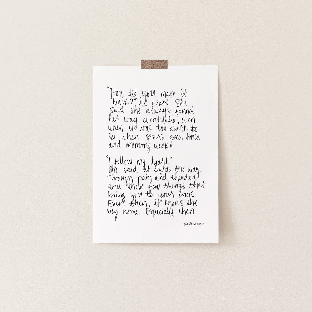 The Way Home Hand Lettered Poetry Art Print