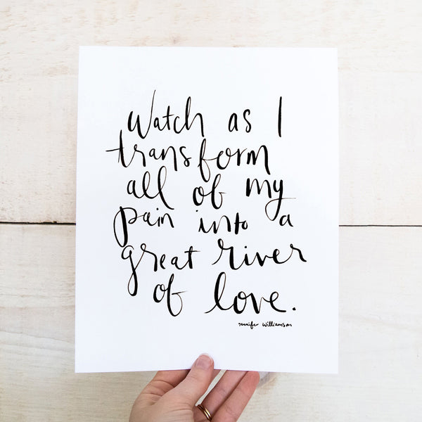 Watch As I Transform Hand Lettered Affirmation Art Print