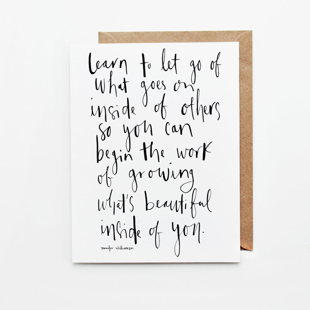 What's Beautiful Inside Of You Hand Lettered Poetry Encouragement Card