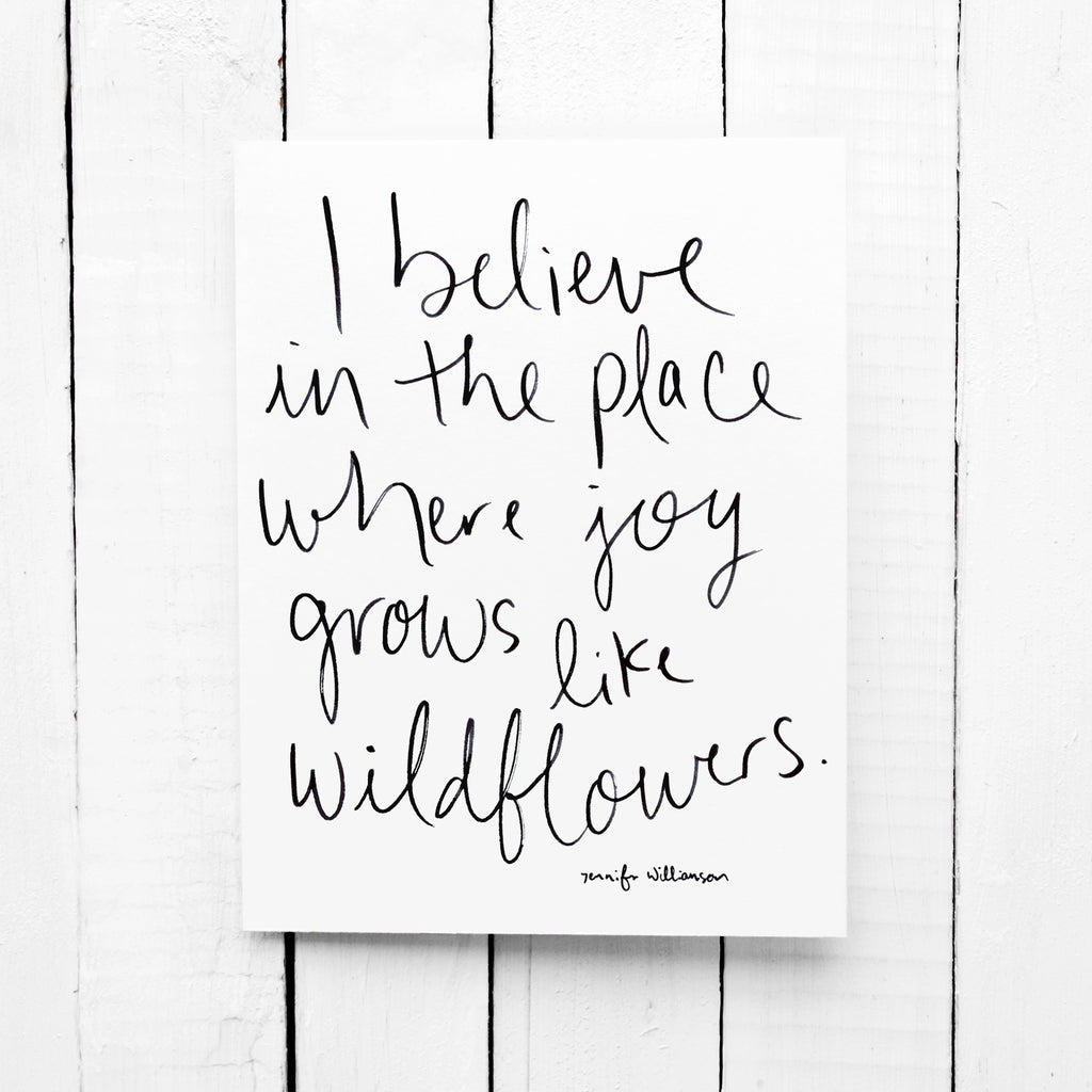 Where Joy Grows Like Wildflowers Hand Lettered Affirmation Encouragement Card
