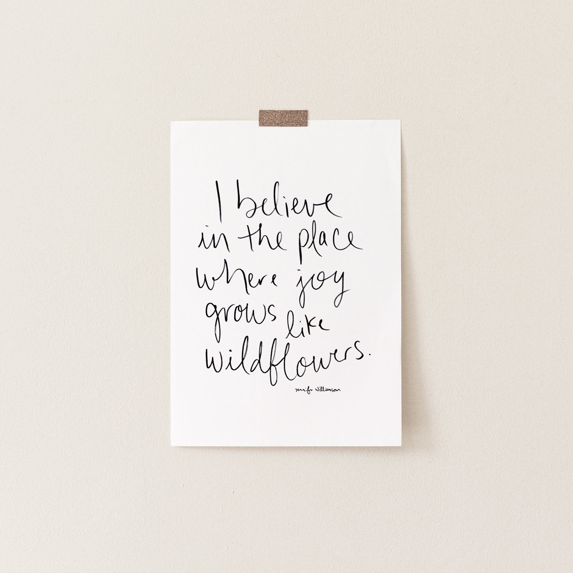Where Joy Grows Like Wildflowers Hand Lettered Affirmation Art Print