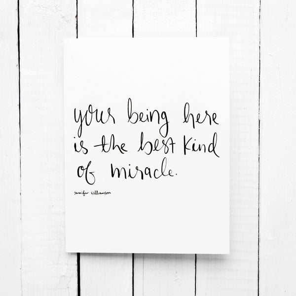 You Are A Miracle Hand Lettered Poetry Encouragement Card