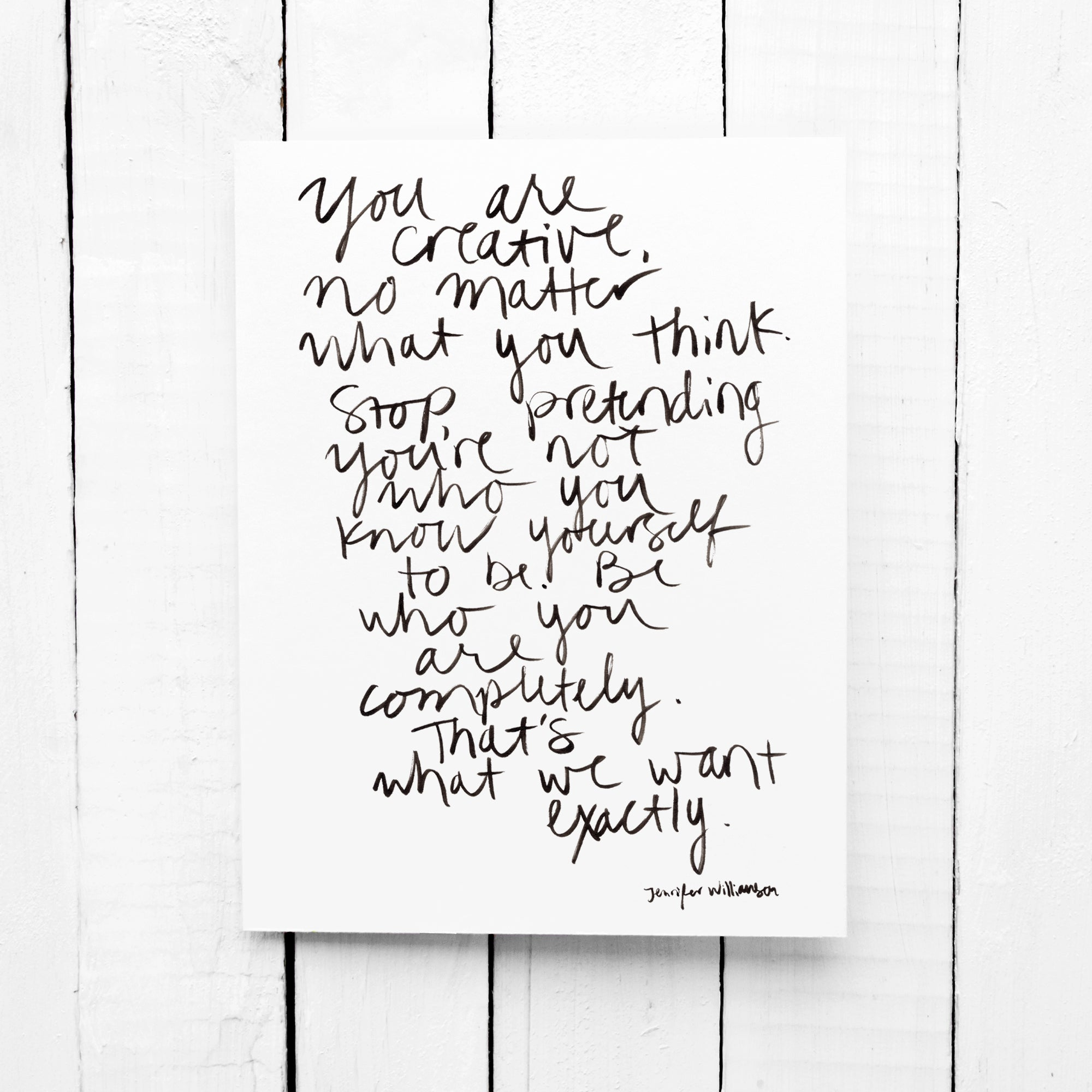 You ARE Creative Hand Lettered Poetry Encouragement Card