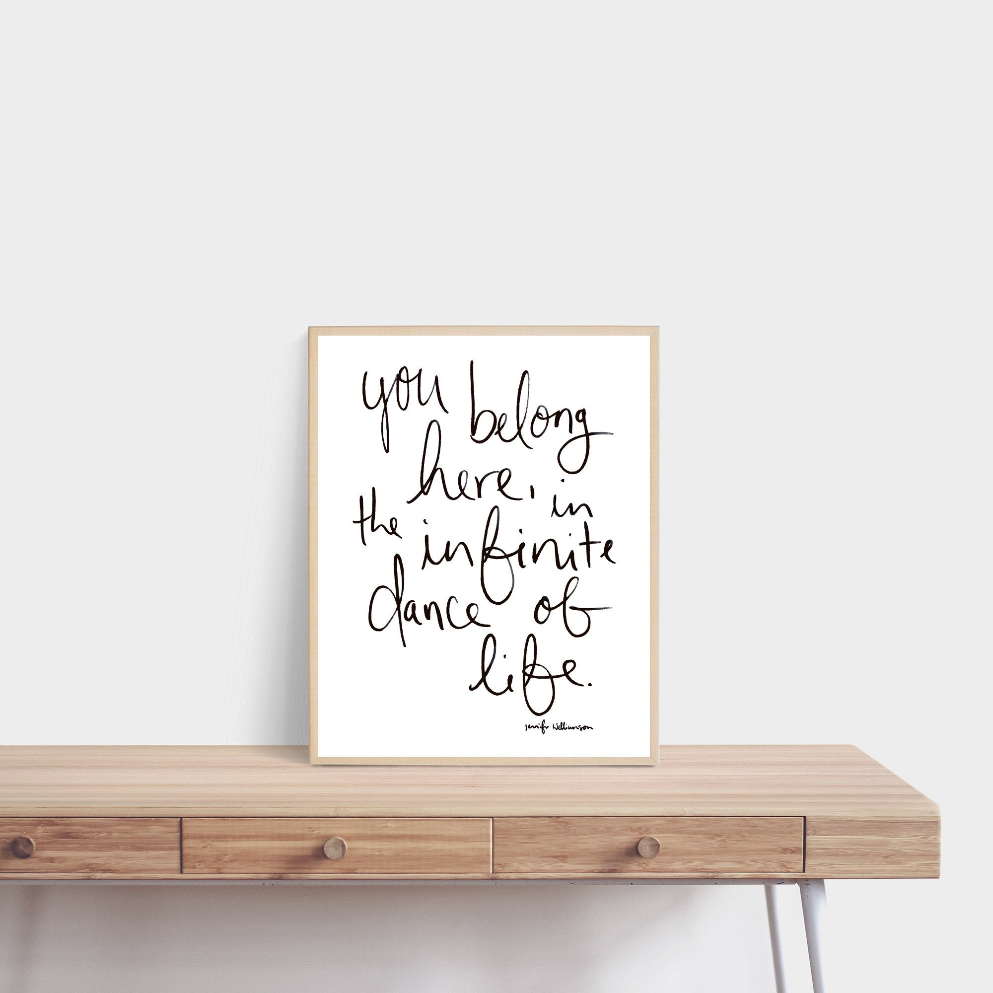 You Belong Here Hand Lettered Poetry Art Print