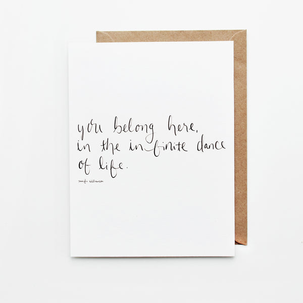 You Belong Here Hand Lettered Poetry Encouragement Card