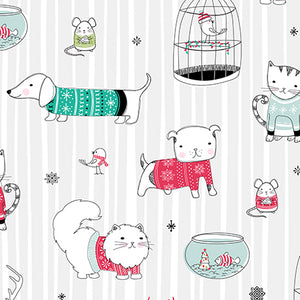 Mingle &  Jingle Christmas Pets Cotton Fabric