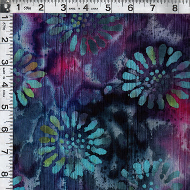 Crincle Cotton Print, Floral Purple from Textile Creations