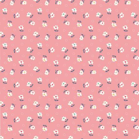 Farm Girl Vintage Cotton Fabric By Lori Holt Daisy Coral