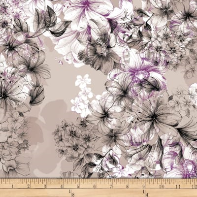 Juliette (Large Floral Grey K) by QT Fabrics Cotton Fabric