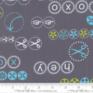 MoDA Hey Dot Creativity is Intelligence having fun Grey Cotton Fabric