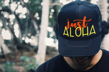 Load image into Gallery viewer, Just Aloha Black Trucker Hat