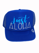 Load image into Gallery viewer, Just Aloha Blue Trucker Hat