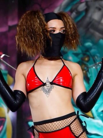 Sexy ninja costume designed with red latex rave, festival co-ord with arm sleeves and ski mask.