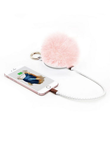 light pink fluff ball portable chargers, festival packing essentials
