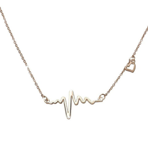 stainless steel heartbeat pendant necklace