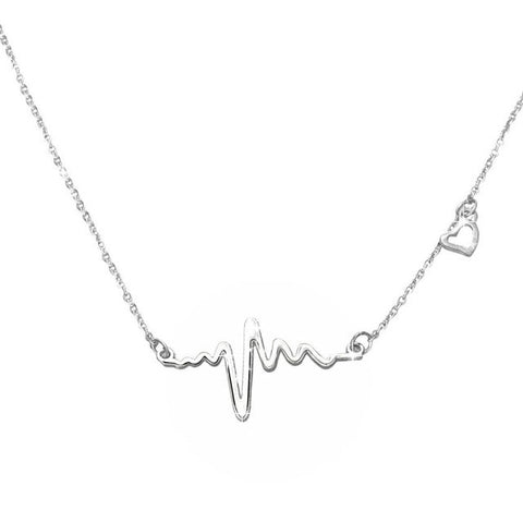 Image of stainless steel heartbeat pendant necklace