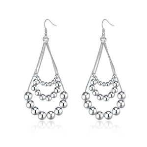18K White Gold Plated Chandelier Beads Drop Earring