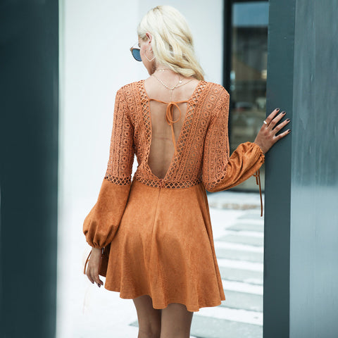 Image of Sexy Lace V Neck Women's Dress