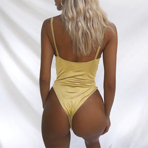 Sexy Backless Deep Neck Women's Bodysuit Elegant Playsuit New 2018 Women's Fashion